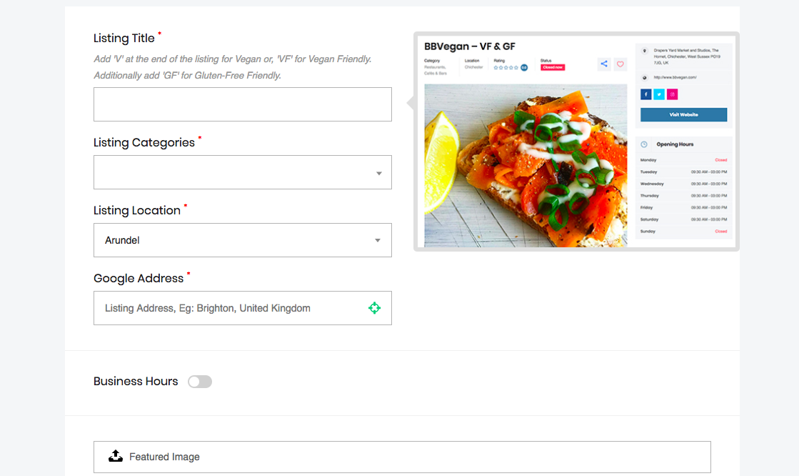 Add Listing to Sussex Vegan 3